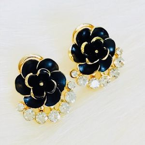 Flower Black Gold Stud Earrings with Crystals